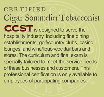 GET CERTIFIED: Certified Cigar Sommelier Tobacconist (CCST)